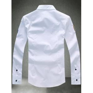 Turn-Down Collar Embroidered Appliques Long Sleeve Shirt - WHITE 4XL