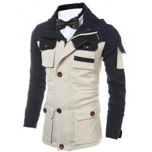 Zippered Multi Pocket Hooded Two Tone Jacket -