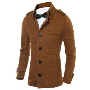 Epaulet Design Button Up Woolen Jacket -