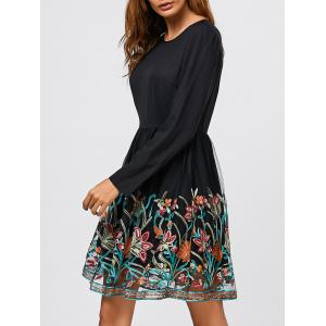 Organza Patchwork Floral Fit and Flare Dress -