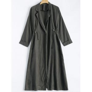 Lapel Collar Back Slit Maxi Trench Coat