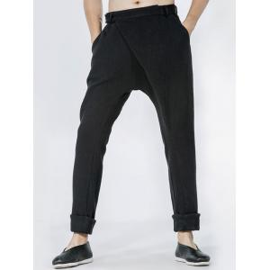 Single Pocket Back Drop Crotch Wrap Pants - Black - 32