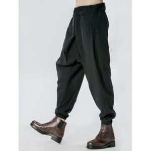 Side Drawstring Drop Crotch Elatic Cuff Harem Pants -