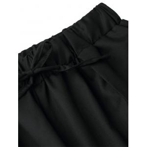 Drawstring Pleated Front Wide Leg Pants - BLACK ONE SIZE