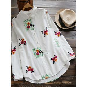 Floral Embroidered Linen Blend Shirt