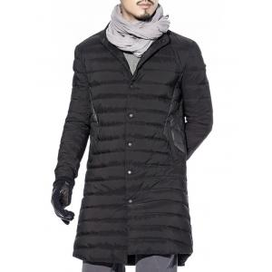 Snap Button Up Paneled Quilted Coat -