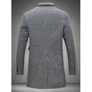 Lapel Collar Flap Pocket Tweed Heather Coat - GRAY 5XL