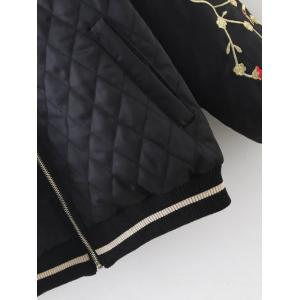 Argyle Embroidered Quilted Bomber Jacket - BLACK 2XL