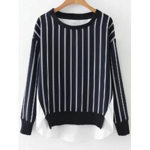 High Low Stripes Spliced Sweatshirt - Blue And White - L