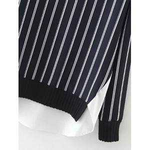 High Low Stripes Spliced Sweatshirt - BLUE AND WHITE L