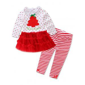 Christmas Tree Tulle Polka Dot Dress + Striped Leggings Two Piece Set