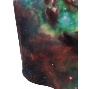 Hooded 3D Galaxy Print with Pocket Dress - GREEN L