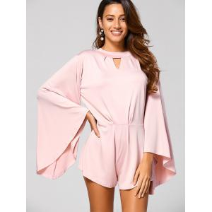 Cut Out Flare Sleeve Fitting Romper - PINK XL