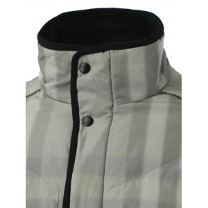 Stand Collar Zip-Up Striped Quilted Jacket - GRAY 2XL
