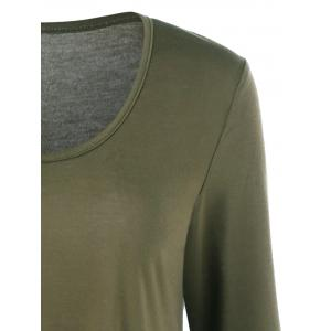 Fit and Flare Long Sleeve Mini Dress - ARMY GREEN XL