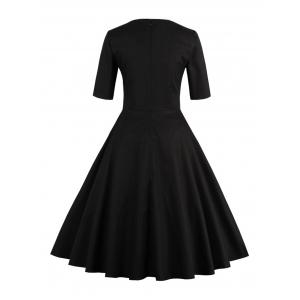 Vintage Sweetheart Neck Flare Pin Up Dress - BLACK 5XL