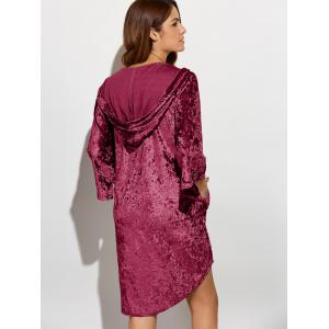 Three Quarter Sleeve Hooded Velvet Dress -