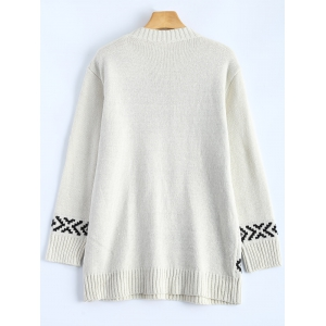 Jewel Neck Merry Christmas Sweater - OFF WHITE ONE SIZE