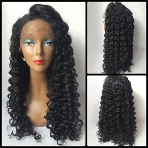 Long Curly Side Parting Lace Front Human Hair Wig - BLACK
