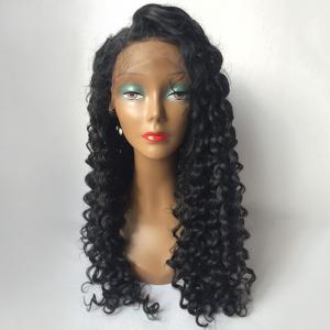 Long Curly Side Parting Lace Front Human Hair Wig -