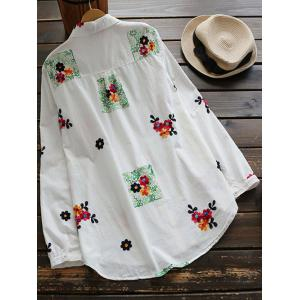Floral Embroidered Linen Blend Shirt - WHITE ONE SIZE