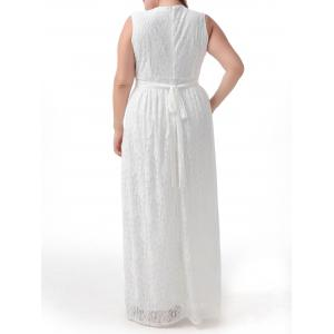 Plus Size Lace Long Sleeveless Party Prom Dress -