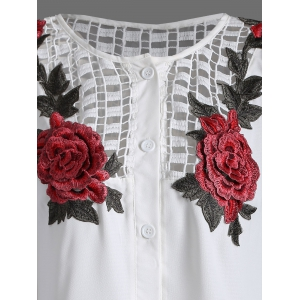 Openwork Rose Embroidery Blouse - WHITE 2XL