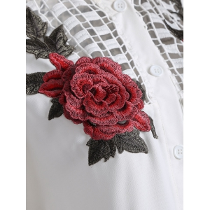 Openwork Rose Embroidery Blouse - WHITE M
