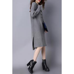 High Low Slit Knitted Dress - GRAY M