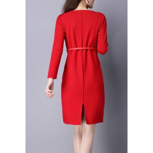 V Neck Knitted Dress with Belt - RED XL