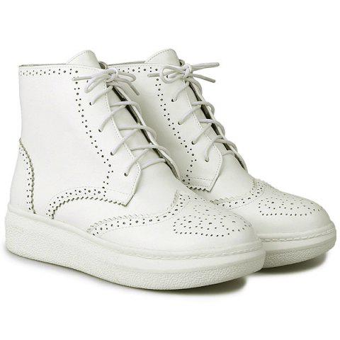 Shop Tie Up Engraving PU Leather Ankle Boots WHITE 38