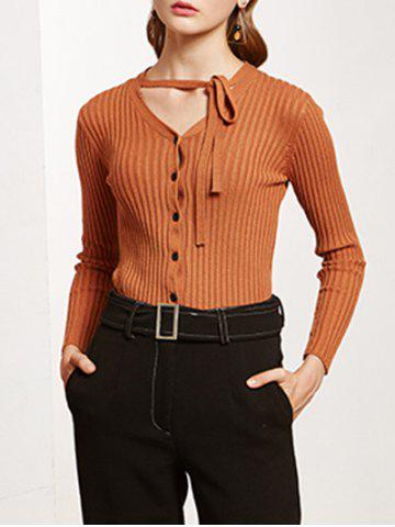 Shop Pullover Buttoned Tied-Up Knitwear