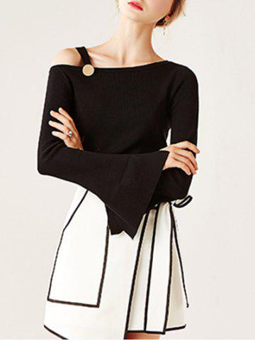 Hot Split Bell Sleeve Buckled Knitwear BLACK ONE SIZE