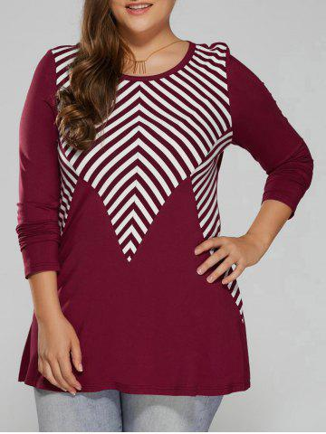 Outfit Plus Size Striped Trim T-Shirt LIGHT RED 2XL