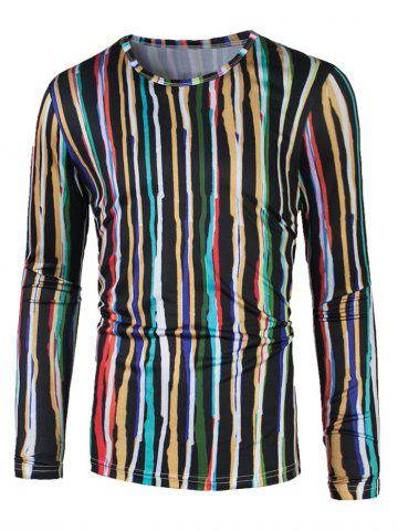 Outfit Long Sleeve Colorful Vertical Striped T-Shirt COLORMIX 2XL