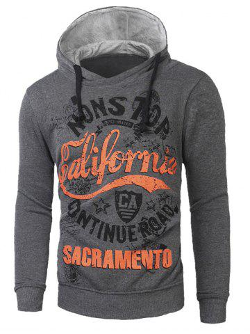 Store Graphic Print Drawstring Pullover Hoodie DEEP GRAY 2XL