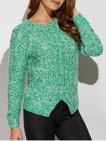 Cheap Slit Cable Knit Sweater