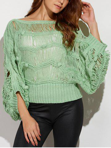 Sale Knotted Hollow Out Ripped Sweater PEA GREEN ONE SIZE