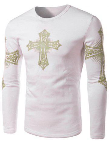 Modern Style Round Neck Color Block Special Cross Print Slimming Long Sleeves Men's Flocky T-Shirt - White L