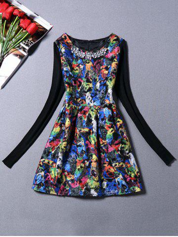 Sweater Sleeve Parrot Print Dress With Necklace