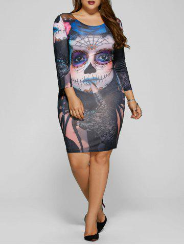 Latest Devil Skull Print Mini Bodycon Dress COLORMIX 5XL