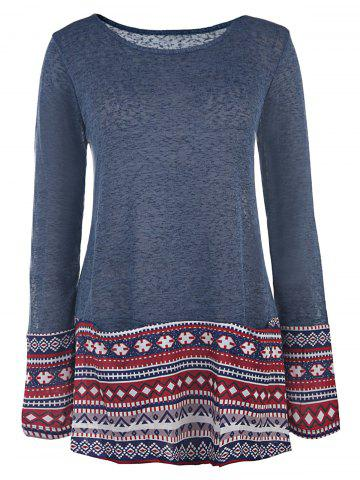 Affordable Casual Style Scoop Collar Long Sleeve Ethnic Print Women's T-Shirt
