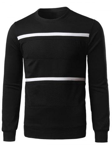 Outfits Spliced Stripe Long Sleeve Sweatshirt BLACK 2XL