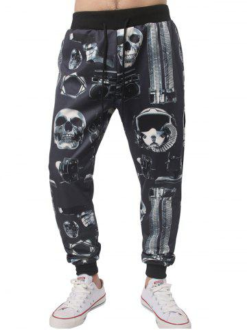 Cheap Skull Gun Printed Drawstring Jogger Pants BLACK XL