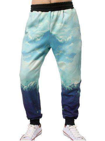 Discount 3D Graphic Sky Print Jogger Pants LIGHT BLUE XL