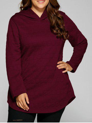 Affordable Plus Size Vertical Pockets Emboss Hoodie WINE RED 3XL