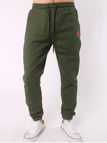 Hot Plus Size Letter Embroidery Army Jogger Pants ARMY GREEN 5XL