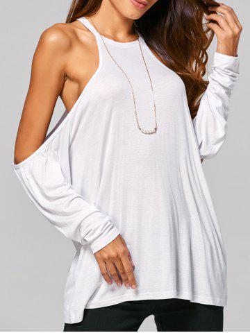 Fashion Cold Shoulder Loose-Fitting T-Shirt WHITE XL