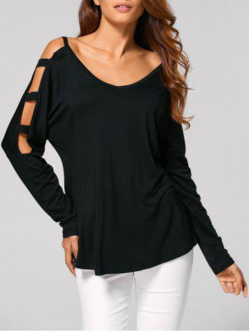 Chic Cut Out Cold Shoulder Loose T-Shirt