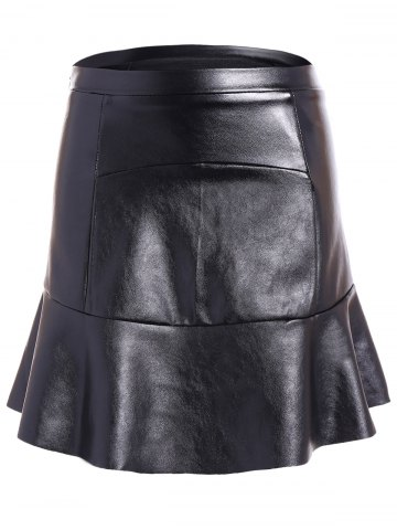 PU Leather Flounce Ruffles Bodycon Skirt - Black - L